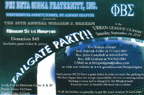 Phi Beta Sigma - Beta Psi Sigma Chapter Tailgate Party Flyer