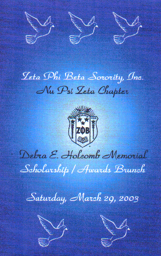 Invitation to Nu Psi Zeta Scholarship Brunch